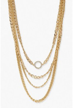Gold metallic Statement Chunky Chain Layered Necklace
