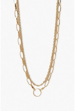 Gold metallic Ring Detail Double Chain Layered Necklace