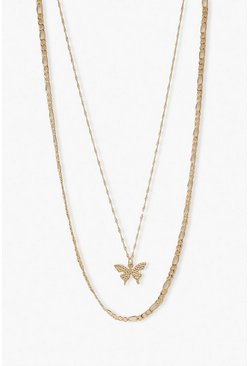Gold metallic Butterfly Pendant & Chain Layered Necklace