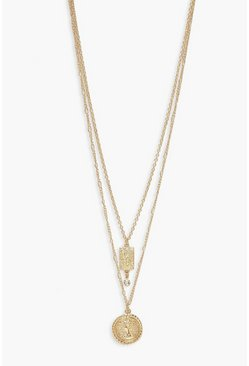 Gold metallic Coin and Diamante Drop Layered Necklace