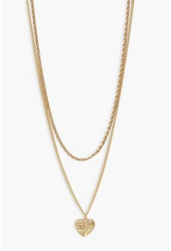 Gold Twisted Chain & Heart Pendant Layered Necklace