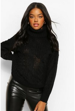Black Turtleneck Chunky Cable Knit Sweater