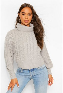 Grey Roll Neck Cable Knit Crop Jumper