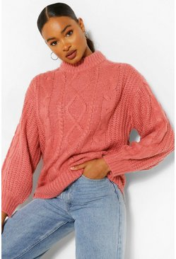 Rose pink Chunky Balloon Sleeve Sweater