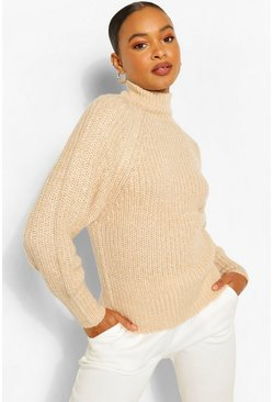 Biscuit beige Turtle Neck Fisherman Jumper