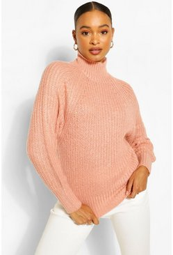 Rose pink Turtle Neck Fisherman Jumper