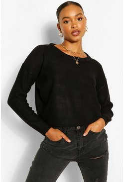 Black Basic Scoop Neck Jumper