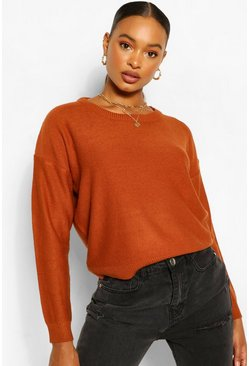 Gingerbread orange Basic Scoop Neck Sweater