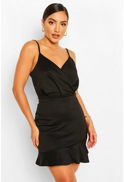 Strappy Ruffle Hem Mini Dress, Black