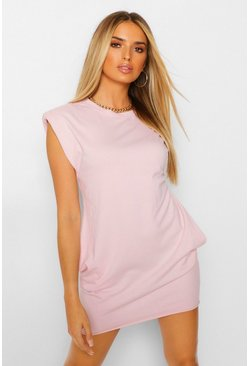Pink Padded Shoulder T-Shirt Dress