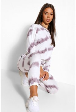 Black Tie Dye Sweater And Jogger Tracksuit