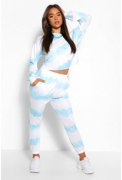 Blue Tie Dye Sweater And Jogger Tracksuit