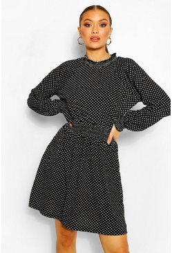 Polka Dot High Neck Belted Skater Dress, Black