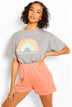Grey Stay Positive Graphic T-Shirt
