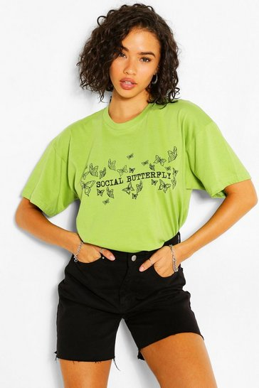 Pistachio Social Butterfly Graphic T-Shirt