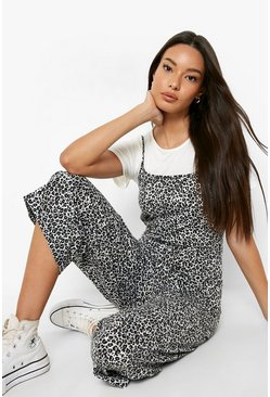 Grey T-Shirt & Leopard Print Cami Jumpsuit 2 In 1 Set