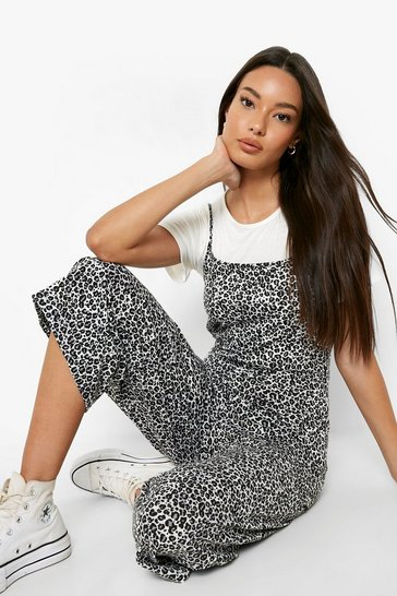 Grey T-Shirt and Leopard Print Cami Jumpsuit 2 In 1 Set