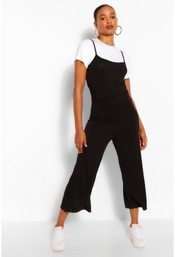 Black T-Shirt & Cami Jumpsuit 2 In 1 Set