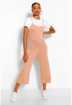 Camel beige T-Shirt & Cami Jumpsuit 2 In 1 Set