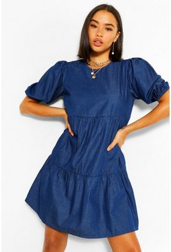 Denim Tierred Smock Dress, Blue