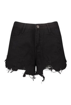 Black Heavily Distressed Denim Short