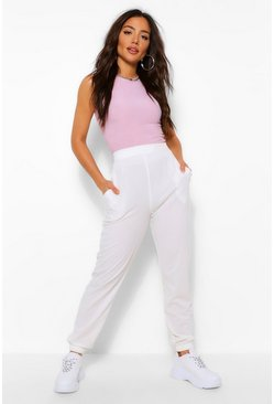 Ivory white CASUAL RIB HIGH WAIST OVERSIZED JOGGER