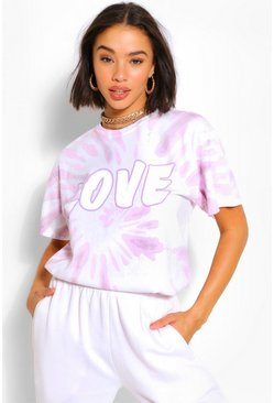 Pink Love Slogan Tie-Dye T-Shirt