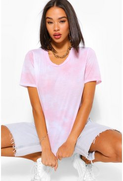 Light pink pink Tie Dye T Shirt