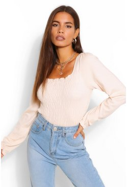 Beige Shirred Bodice Top