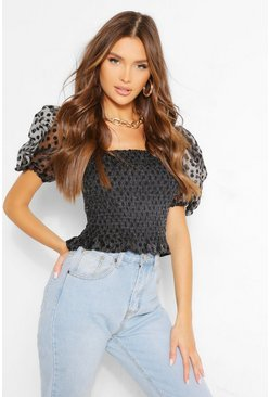Black Organza Polka Dot Puff Sleeve Top