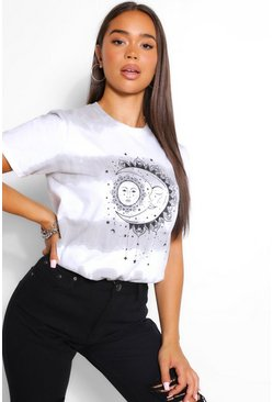 Black TIE DYE SUN AND MOON T-SHIRT