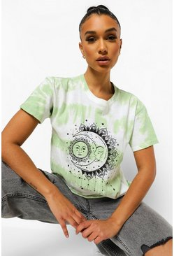 Sage TIE DYE SUN AND MOON T-SHIRT