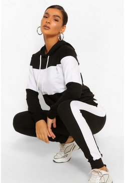 Black COLOUR BLOCK HOODY TRACKSUIT