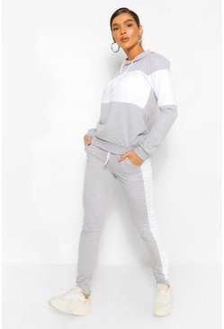 Grey marl grey Colour Block Hoodie Tracksuit
