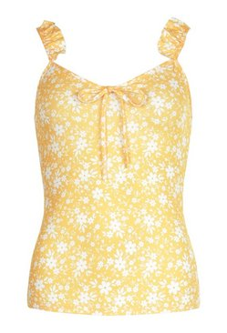 Yellow DITSY FLORAL PRINT FRILL STRAP TOP