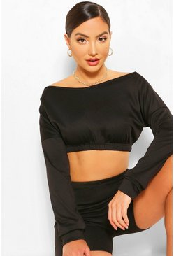 Black Off The Shoulder Cropped Sweat And Shorts Set
