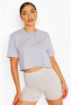 Grey marl grey CROPPED T-SHIRT AND SHORTS SET