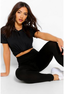 Black Oversized Boxy T-Shirt & Legging Co-ord