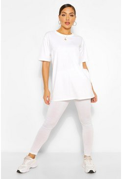 White Oversized Boxy T-Shirt & Legging Co-ord