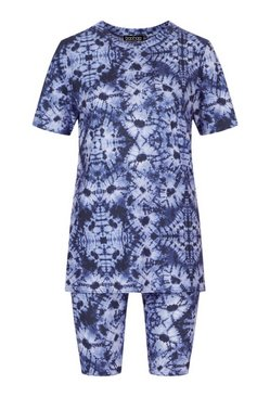 Navy Oversized Tie Dye T-Shirt & Cycling Short Co-ord