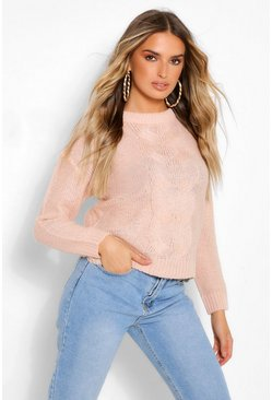 Blush pink Lightweight Cable Knit Jumper
