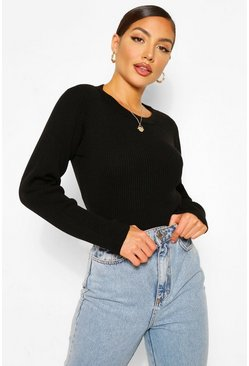 Black Crew Neck Rib Knit Bodysuit