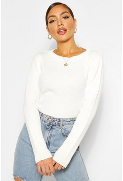 Ivory white Crew Neck Rib Knit Bodysuit