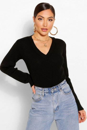Black V Neck Rib Knit Bodysuit
