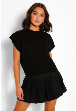 Black High Neck Knitted Top