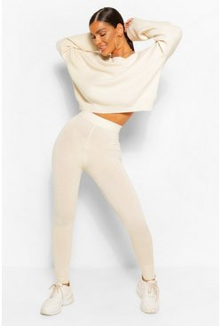 Ivory white Sweater & Jogger Knitted Two-Piece