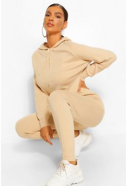 Stone beige Seam Detail Knitted Tracksuit