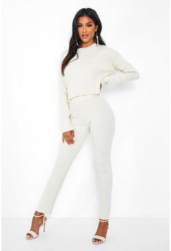 Ivory white Boxy Rib Knit Co-Ord