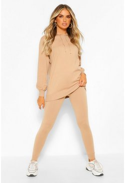 Stone beige Hoody Knitted Co-Ord