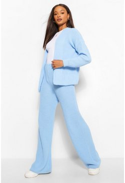 Blue Crop Cardigan Wide Leg Knitted Co-Ord